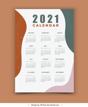 2021 calendar template modern bright abstract decor