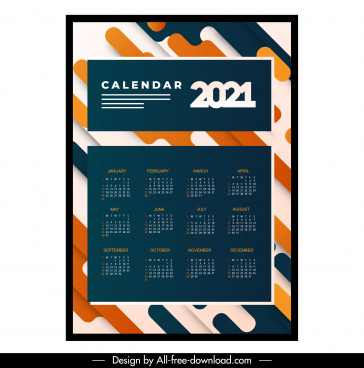 2021 calendar template modern contrast abstract decor