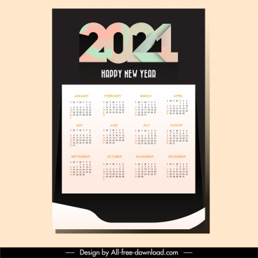 2021 calendar template modern contrast plain decor