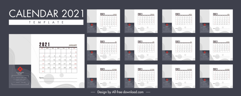 2021 calendar template modern plain white decor