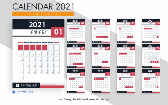 2021 calendar template modern simple contrast decor