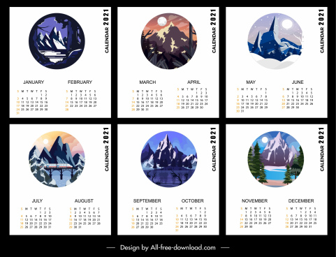 2021 calendar template mountain scenery theme
