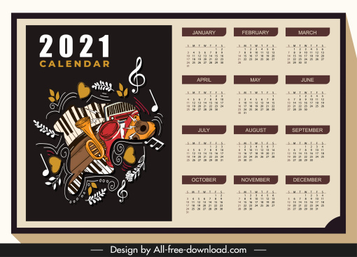 2021 calendar template music instruments sketch dark classic