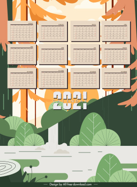 2021 calendar template natural forest elements decor