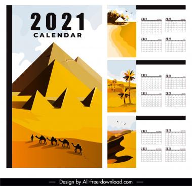 2021 calendar template natural landscape decor