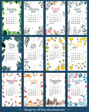 2021 calendar template nature elements decor classic handdrawn