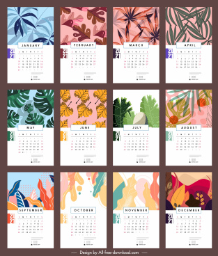 2021 calendar template nature leaves sketch