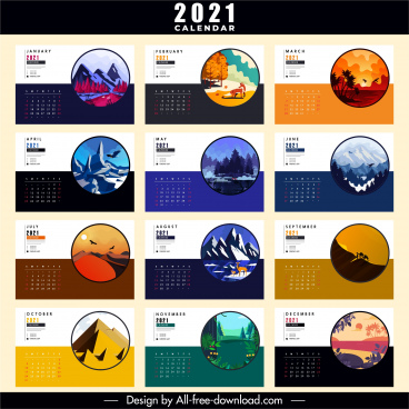2021 calendar template nature scenery sketch colorful classic