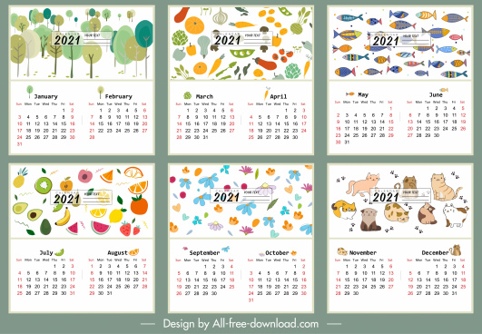 2021 calendar template nature vegetables animals themes