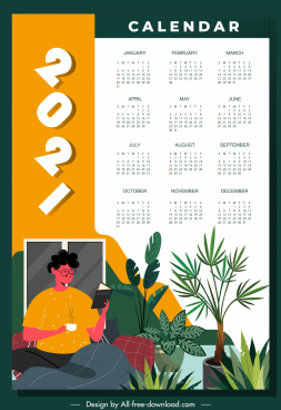 2021 calendar template relaxation lifestyle theme classic decor