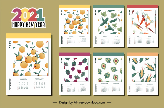 2021 calendar template vegetables fruits theme