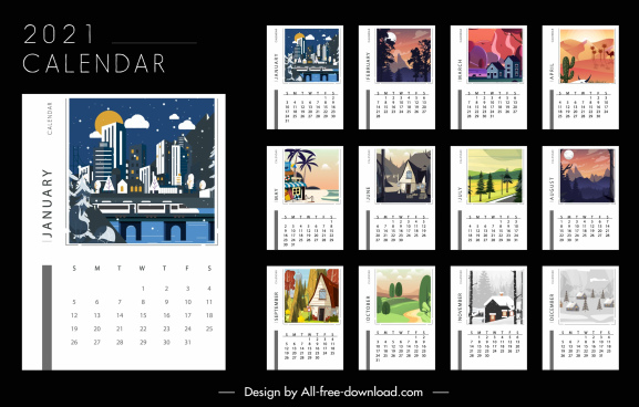 2021 calendar templates landscape decor colorful design