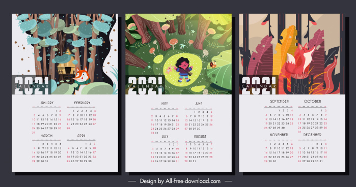 2021 calendar templates natural jungle elements decor