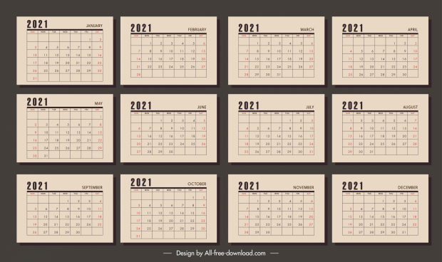 2021 calendar templates retro brown plain decor