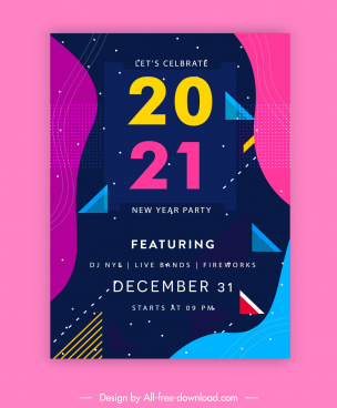 2021 new year party poster colorful geometric decor