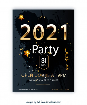 2021 party banner template dark modern grunge decor