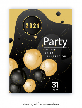 2021 party poster elegant black golden balloons
