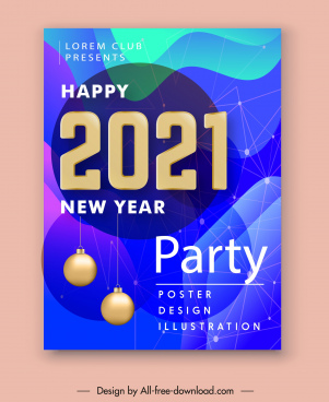 2021 party poster modern baubles spots connection