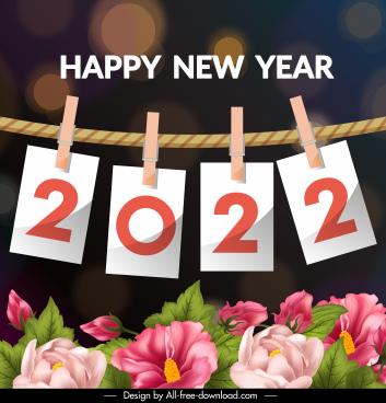 2022 calendar banner elegant botanical hanging clips sketch