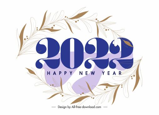 2022 calendar cover template elegant leaves bright decor
