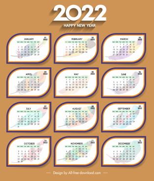 2022 calendar cover template rounded shapes elegant feathers