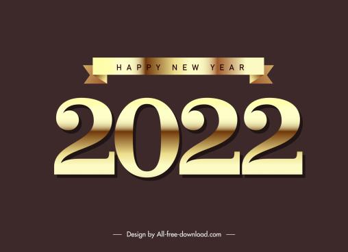 2022 calendar decor element shiny golden number ribbon