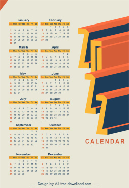 2022 calendar template 3d number plain decor