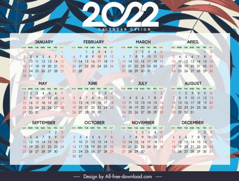 2022 calendar template blurred forest leaves decor