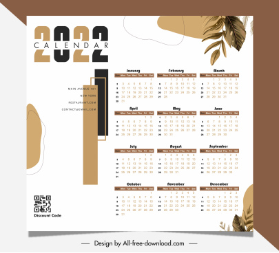 2022 calendar template bright classic leaves decor
