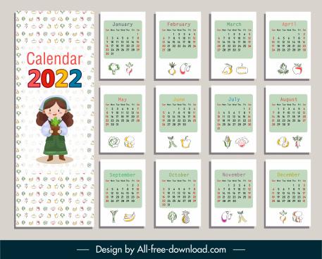 2022 calendar template bright colorful decor food elements