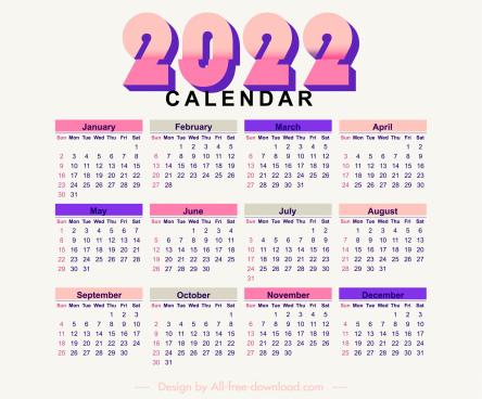 2022 calendar template bright colorful flat plain decor