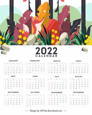 2022 calendar template bright decor nature scene sketch