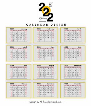 2022 calendar template bright flat classic layout