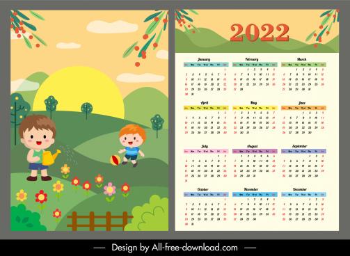 2022 calendar template childhood theme cartoon design