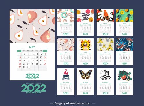 2022 calendar template colorful classic nature elements decor