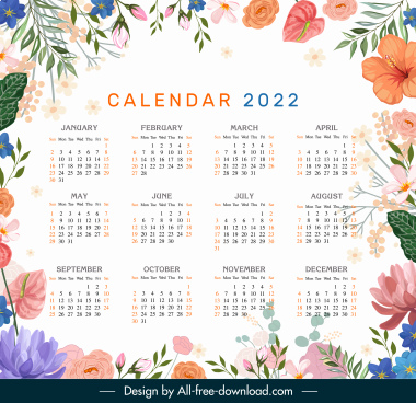 2022 calendar template colorful elegant classical botanical decor