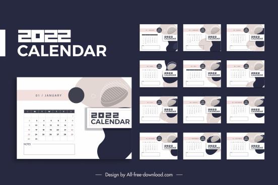 2022 calendar template contrast abstract decor
