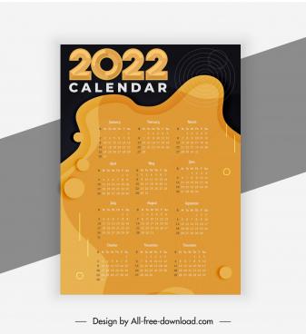2022 calendar template contrast retro abstract decor