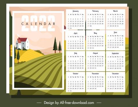 2022 calendar template countryside scene sketch