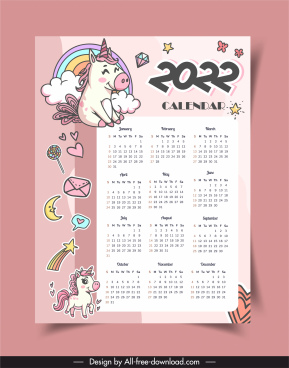 2022 calendar template cute handdrawn unicorn sketch
