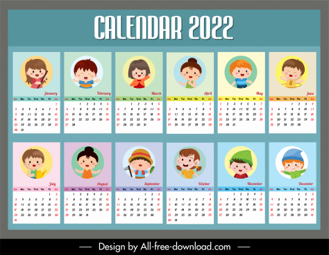 2022 calendar template cute kids icons sketch