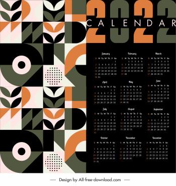 2022 calendar template dark flat abstract decor