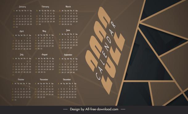 2022 calendar template dark geometric decor