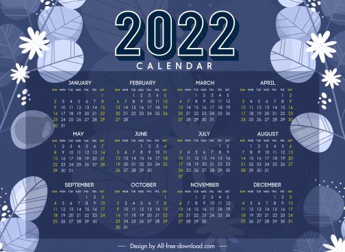 2022 calendar template dark nature elements decor