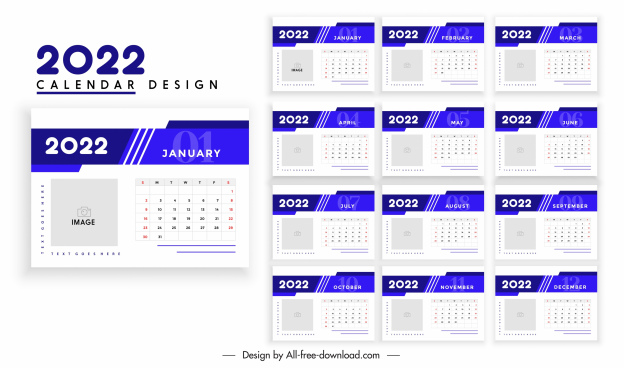 2022 calendar template elegant bright blue white plain