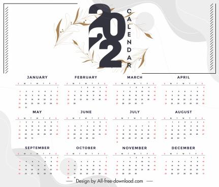 2022 calendar template elegant bright design leaves sketch