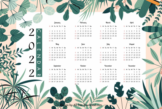 2022 calendar template elegant bright natural leaves decor