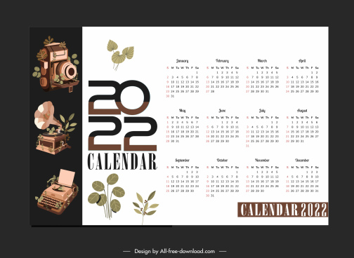 2022 calendar template elegant classic devices sketch