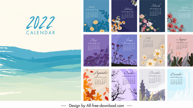 2022 calendar template elegant classic nature elements decor