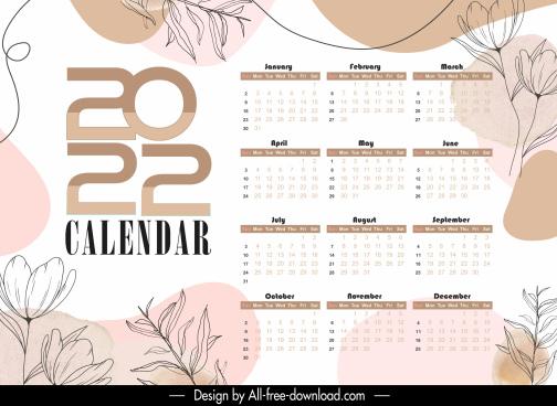 2022 calendar template elegant classical botanical decor